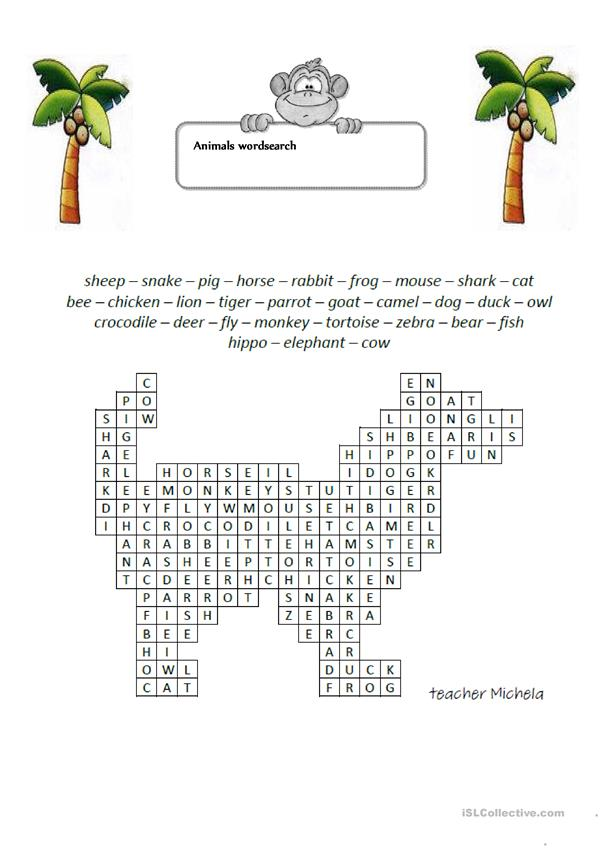 Animals wordsearch