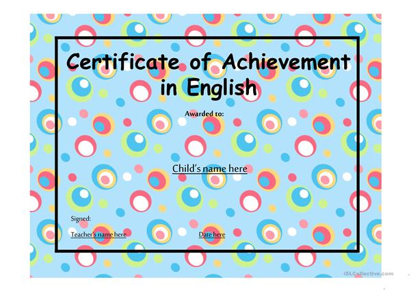 Certificate of Achievement 1
