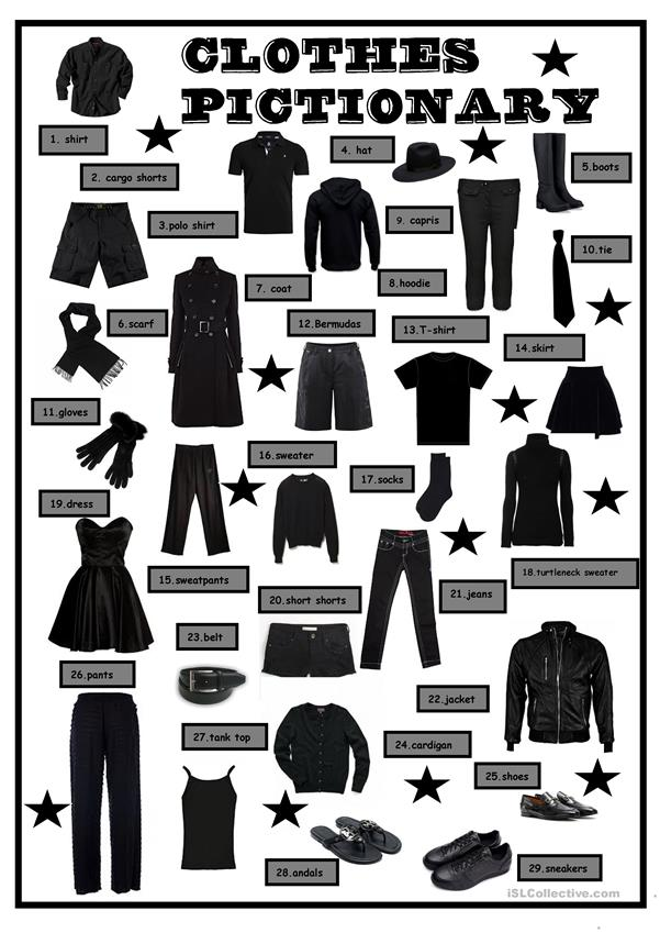 Clothes in Black Pictionary