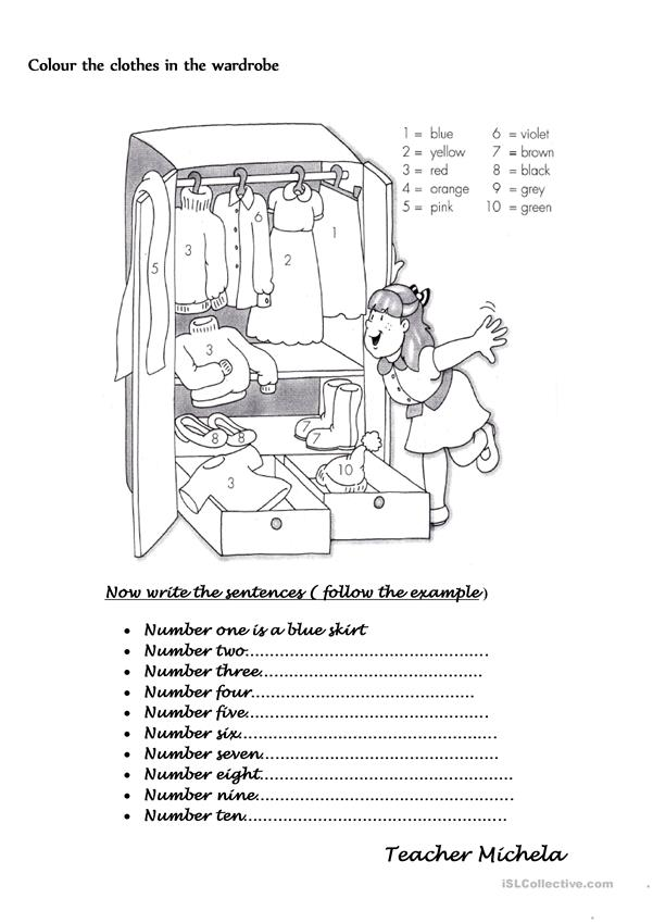 Colour the clothes in the wardrobe