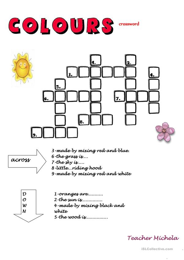 Colours crossword, read the clues and complete