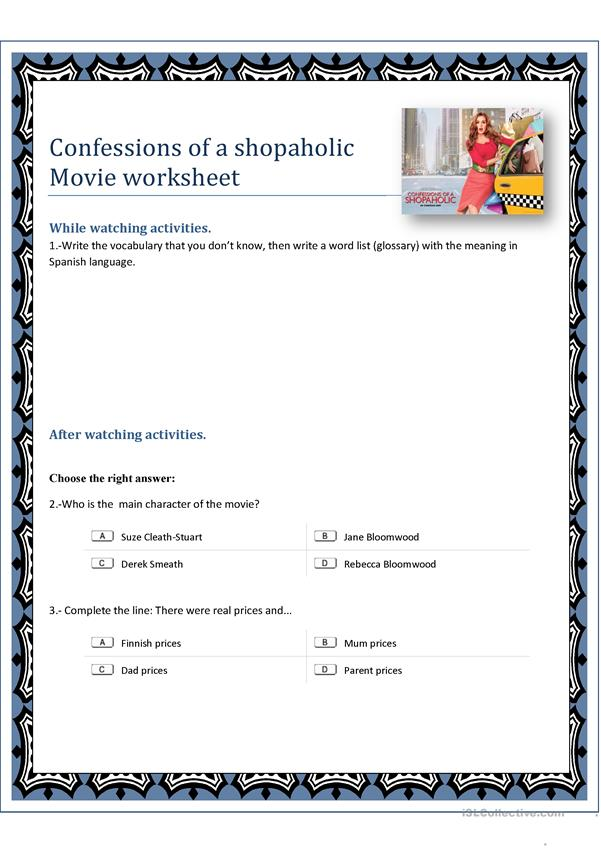 Confessions of a shopaholic movie worksheet
