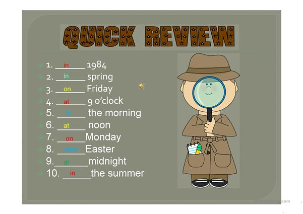 Deputy Dog & Detective Search for Missing Time Prepositions PPT