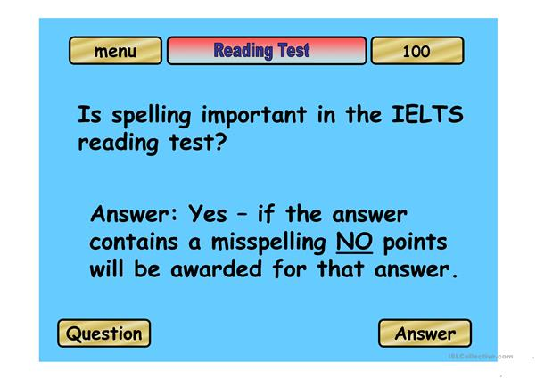 IELTS Quiz - Jeopardy game