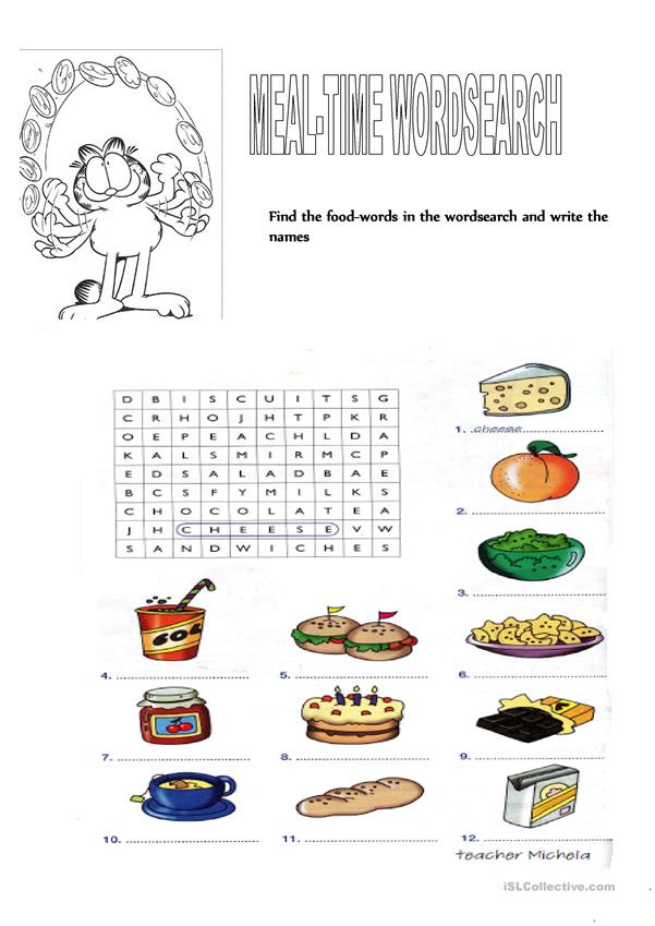 Meal-time wordsearch
