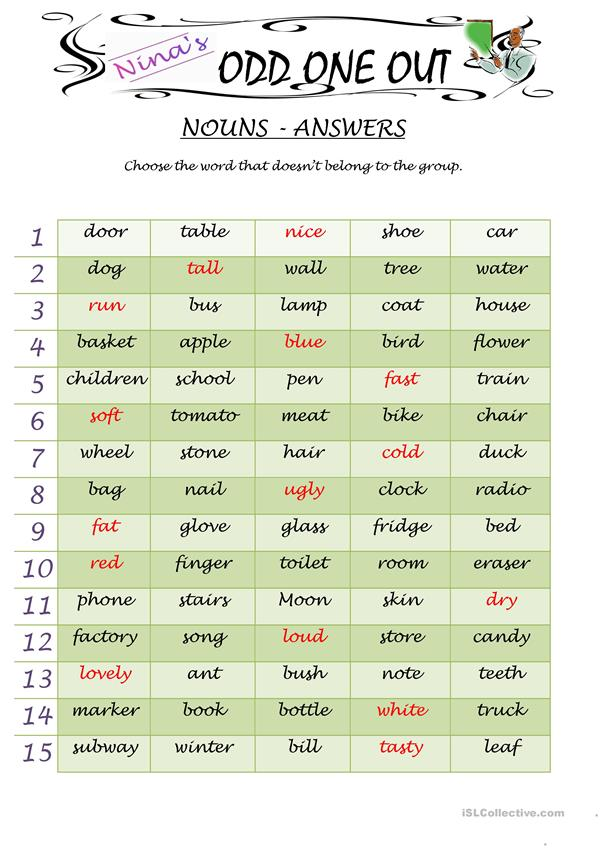 Odd One Out - Nouns