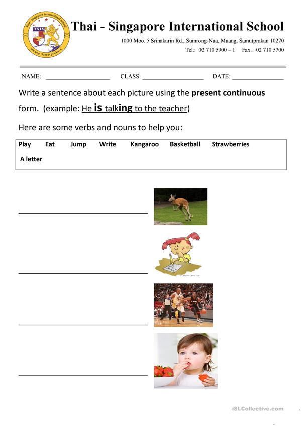 Present continuous - describe the pictures