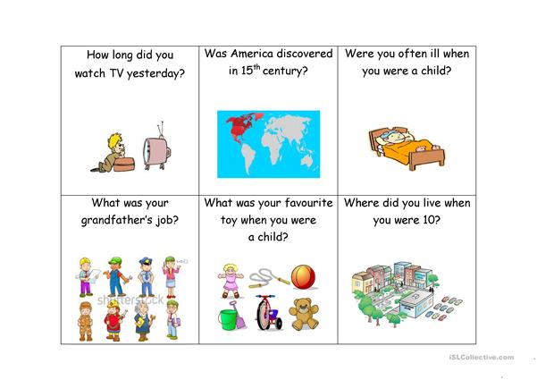 Question cards (past tense)