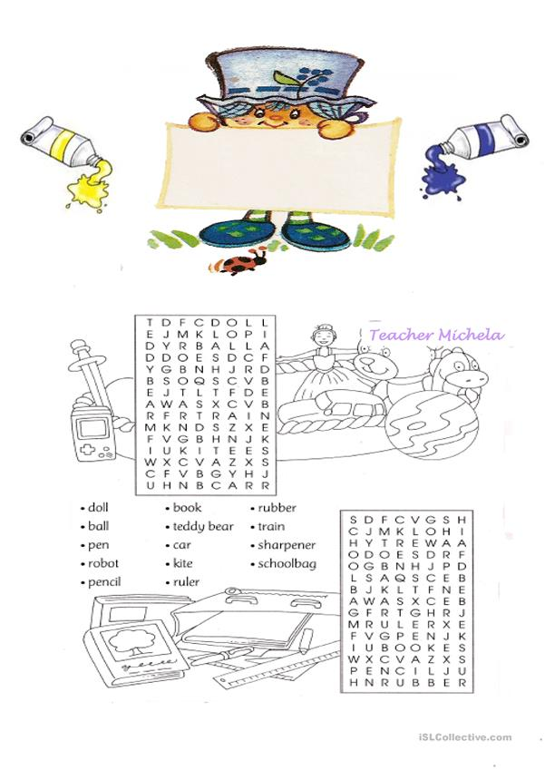 School objects and toys wordsearch