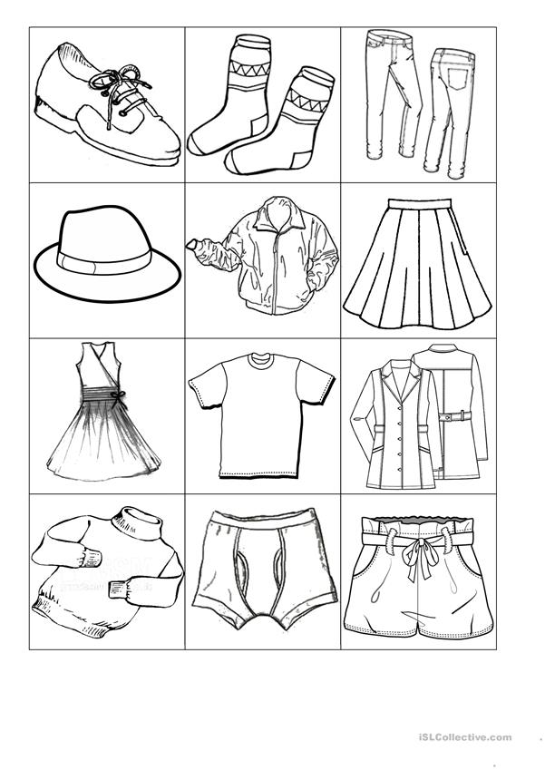 Small flash cards with clothes