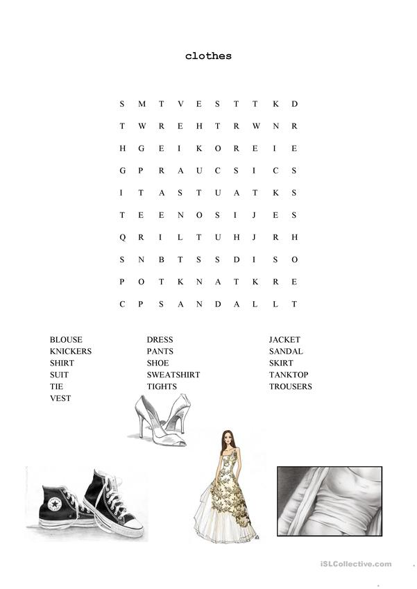 wordsearch vocabulary clothes