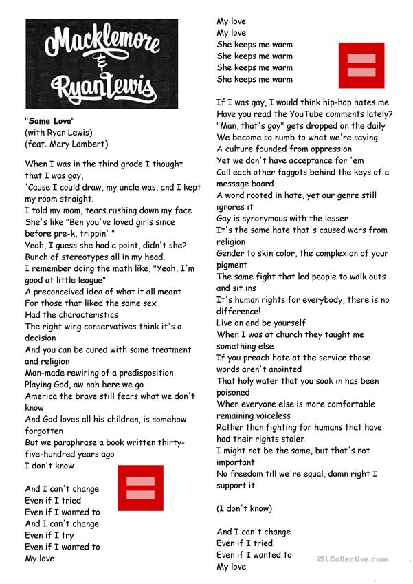 Worksheet song Same love by Macklemore/Human rights