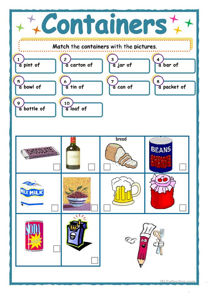 Containers worksheet free esl printable worksheets made for Container en francais