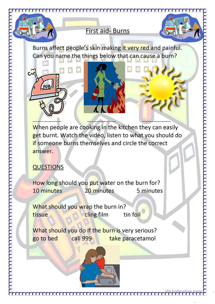 Worksheets First Aid Worksheets 6 free esl first aid worksheets burns