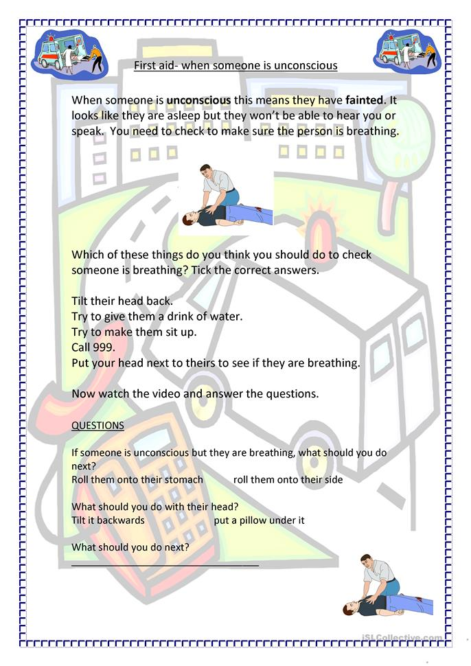 Worksheets First Aid Worksheets 6 free esl first aid worksheets unconscious