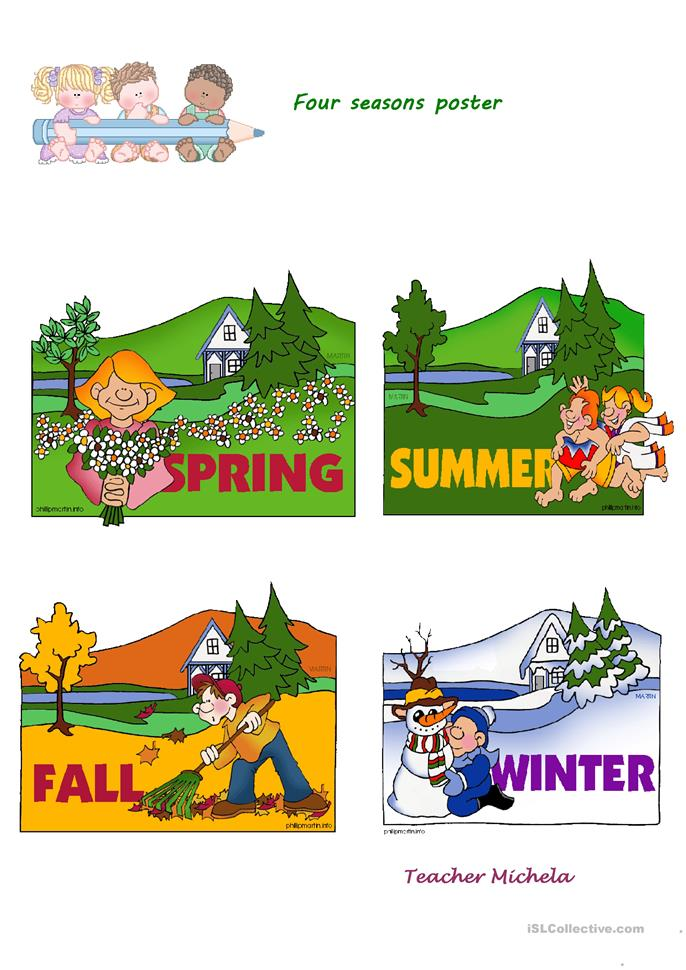 Four seasons poster worksheet - Free ESL printable worksheets made by ...