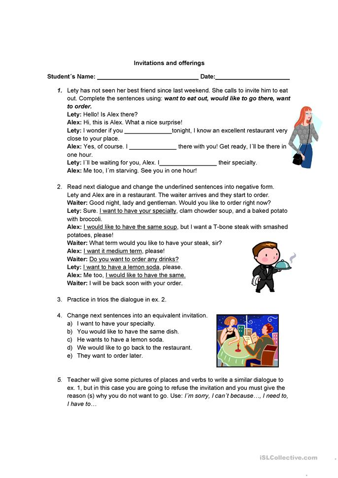 Invitations and offerings - ESL worksheets