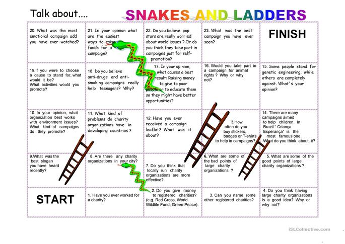 Snakes and ladders_ Talking about charity - ESL worksheets