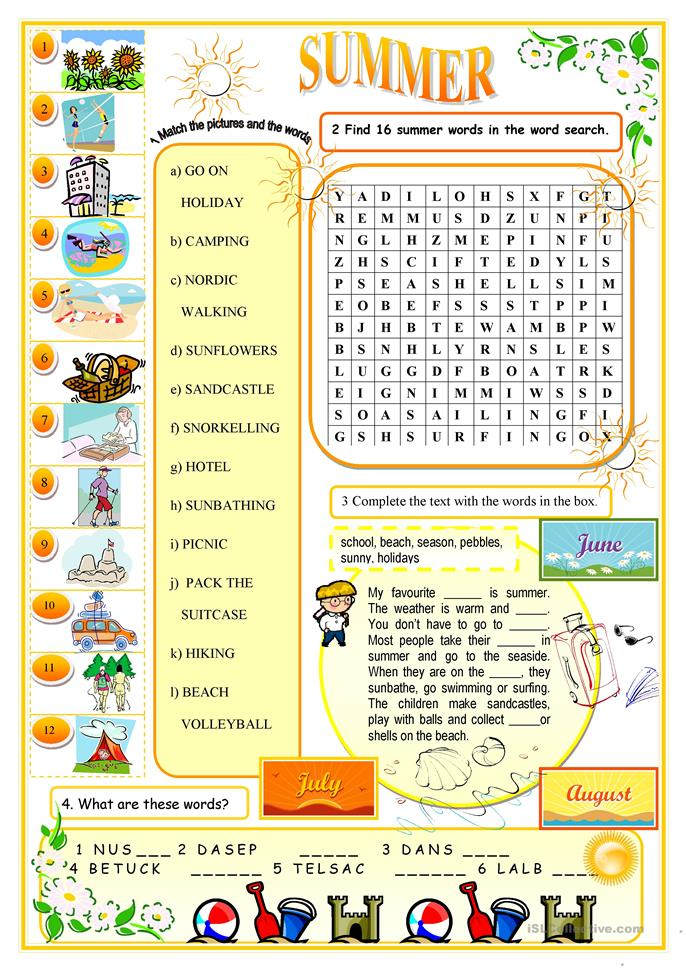Summer - ESL worksheets