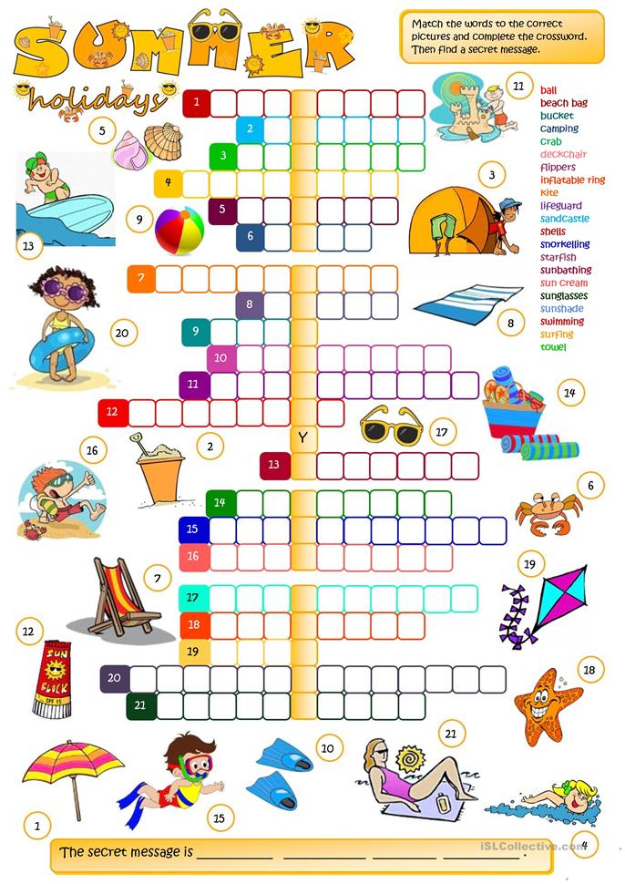Summer holidays - CROSSWORD  - ESL worksheets