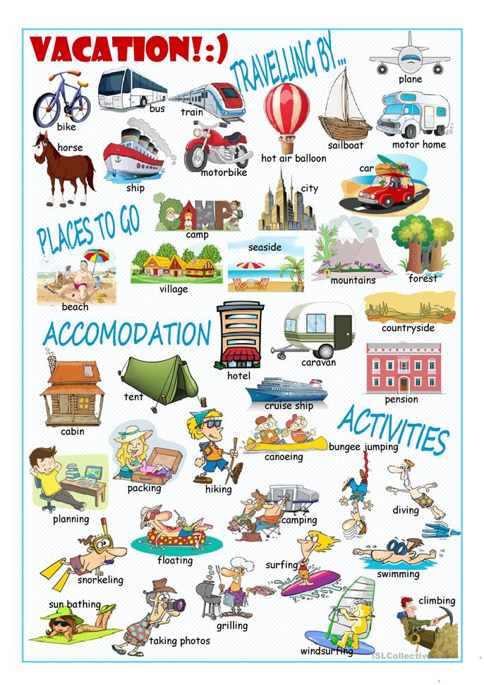 Vacation Picture Dictionary#1 worksheet - Free ESL ...