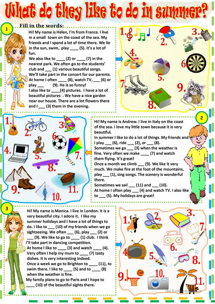 What do they like to do in summer? - ESL worksheets