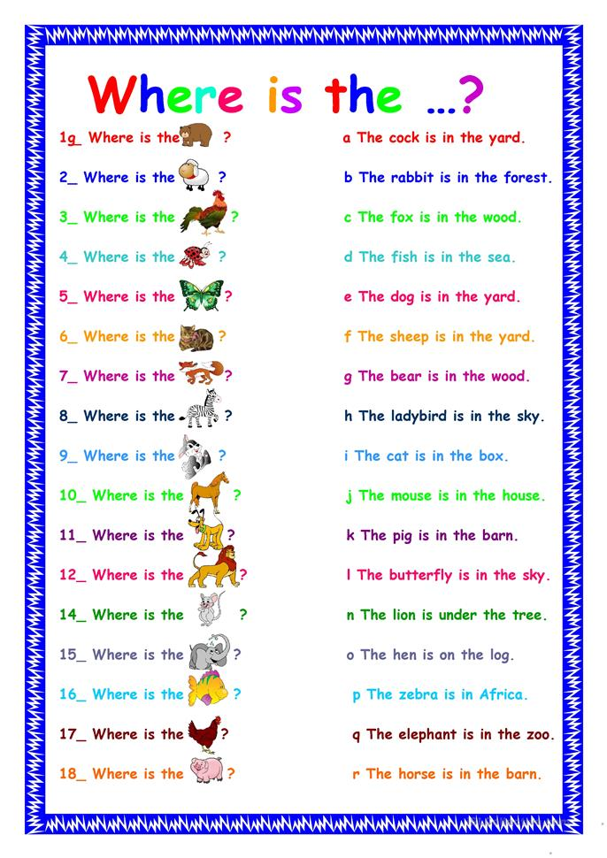 who what when where why worksheets where is this animal worksheet free esl printable 772