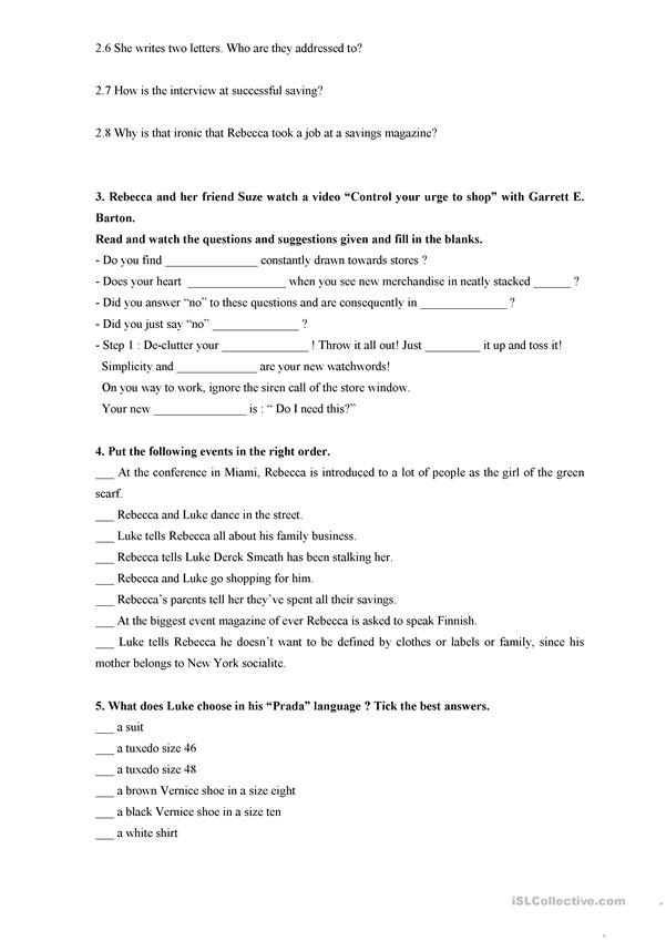 confessions of a shopaholic worksheet answers worksheet free printable worksheets. Black Bedroom Furniture Sets. Home Design Ideas