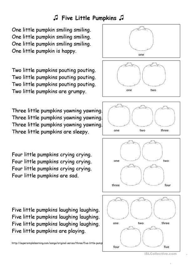 Five Little Pumpkins - English ESL Worksheets for distance learning and physical classrooms