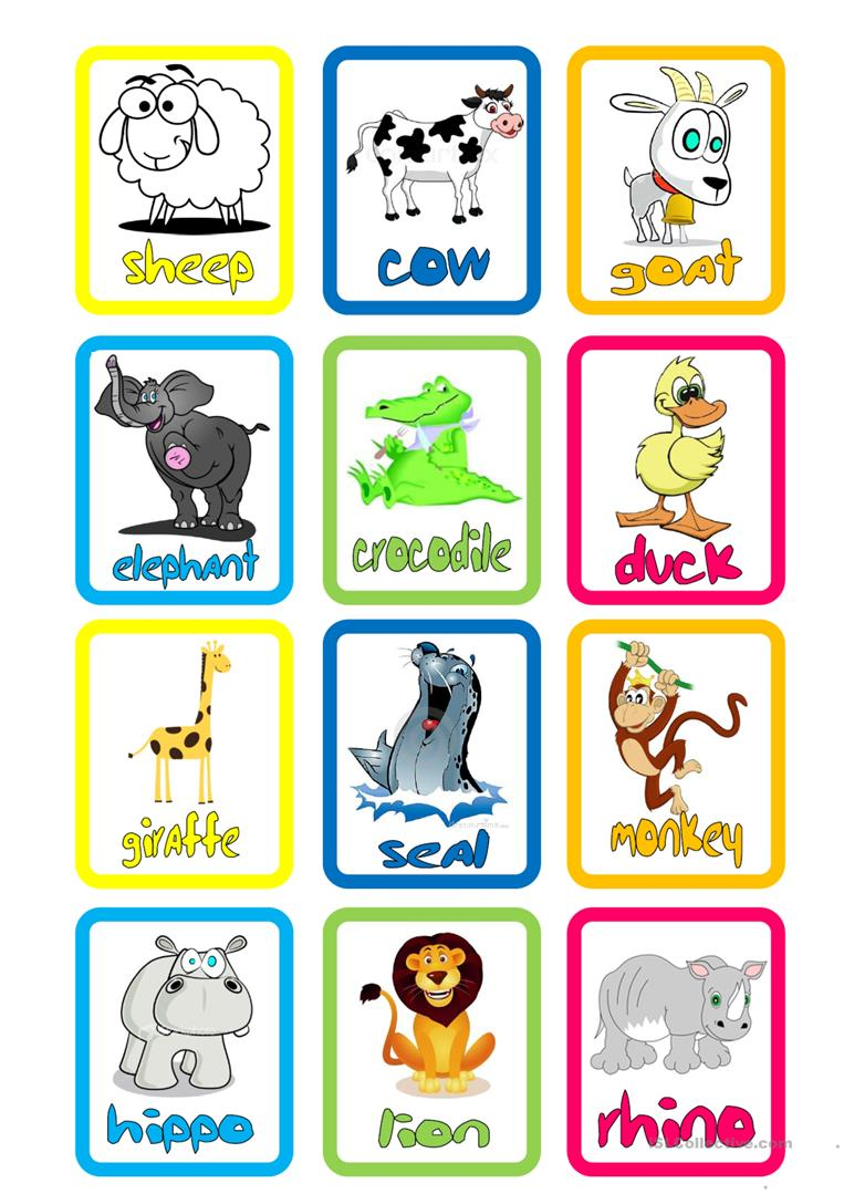 image about Zoo Animal Flash Cards Free Printable named English ESL animal flashcards worksheets - Utmost downloaded