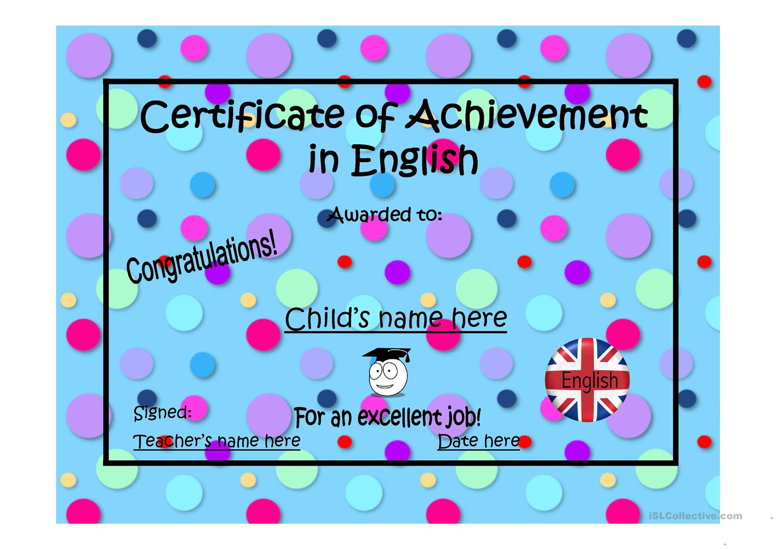 17 free esl certificates powerpoint presentations exercises certificate of achievement yelopaper Choice Image