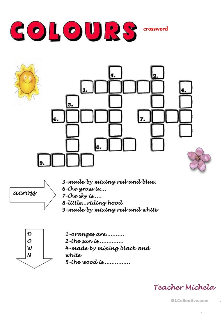 Colours Crossword Read The Clues And Complete English Esl Worksheets For Distance Learning And Physical Classrooms