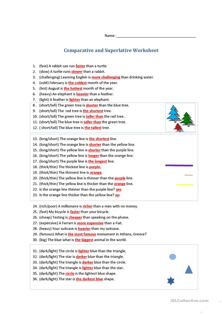 Comparative and superlative adverbs worksheets 3rd grade