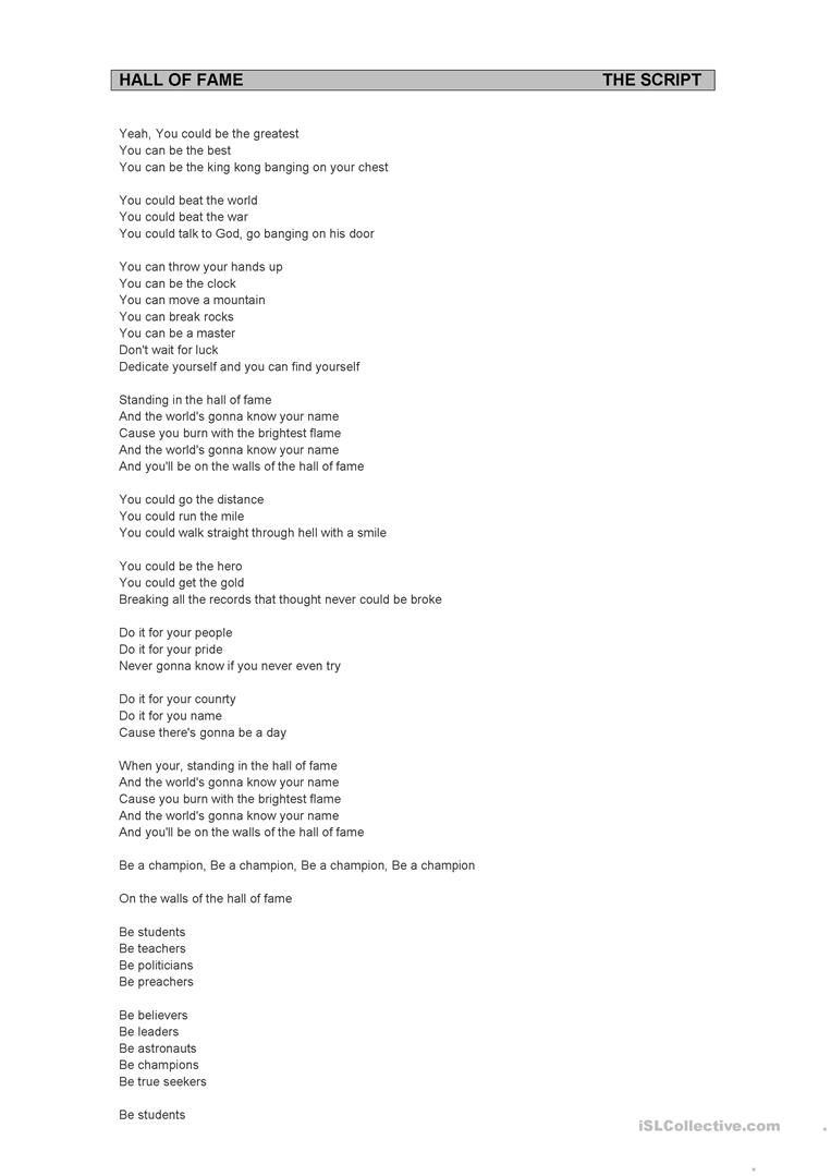 Hall of Fame - The Script & Will-I-am worksheet - Free ESL ...