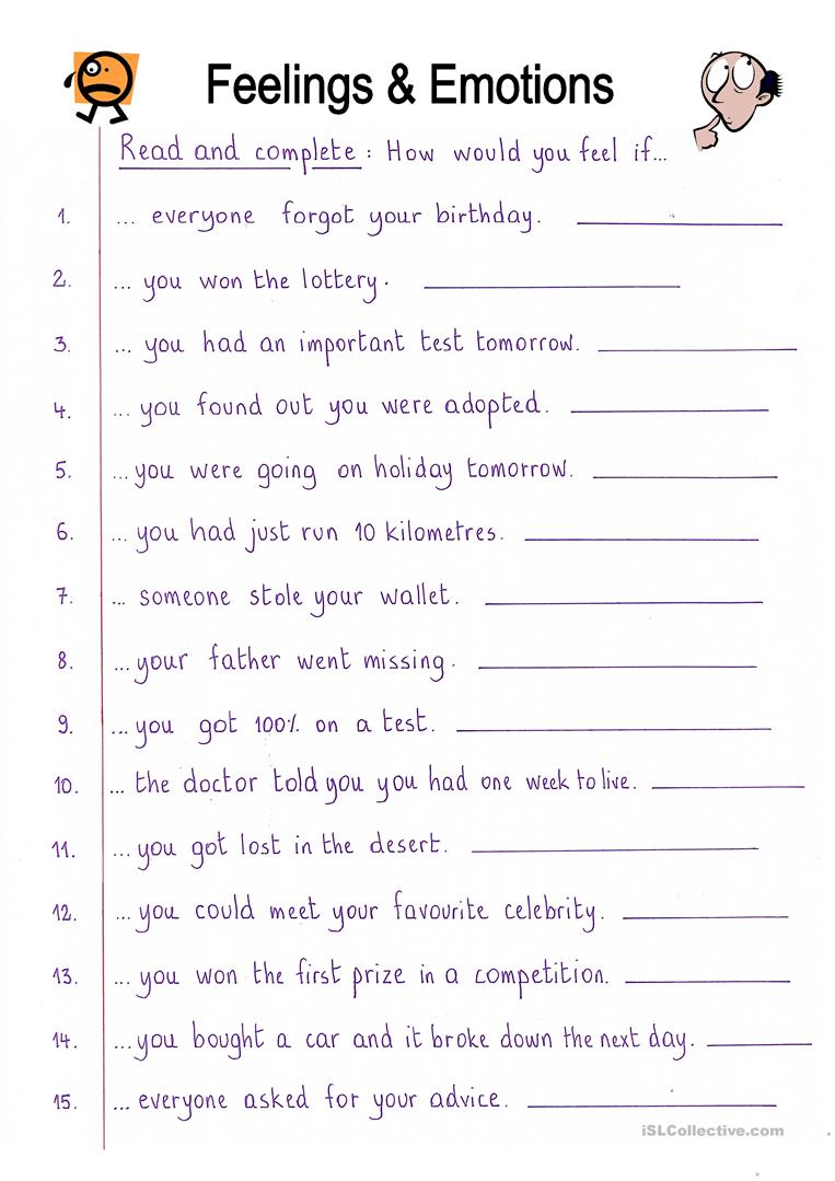 worksheet Fun Reading Worksheets 112 free esl cloze worksheets read and complete feelings