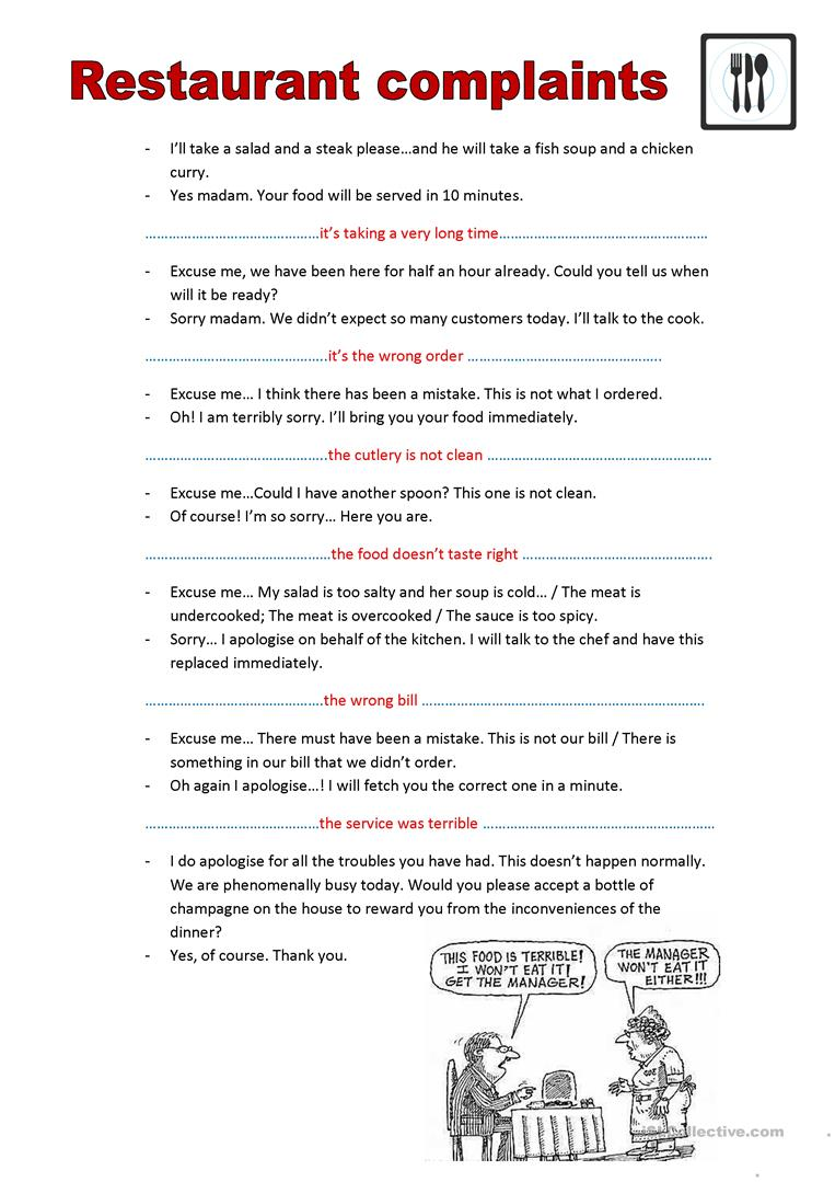 54 free esl complain worksheets restaurant complaints esl worksheets spiritdancerdesigns