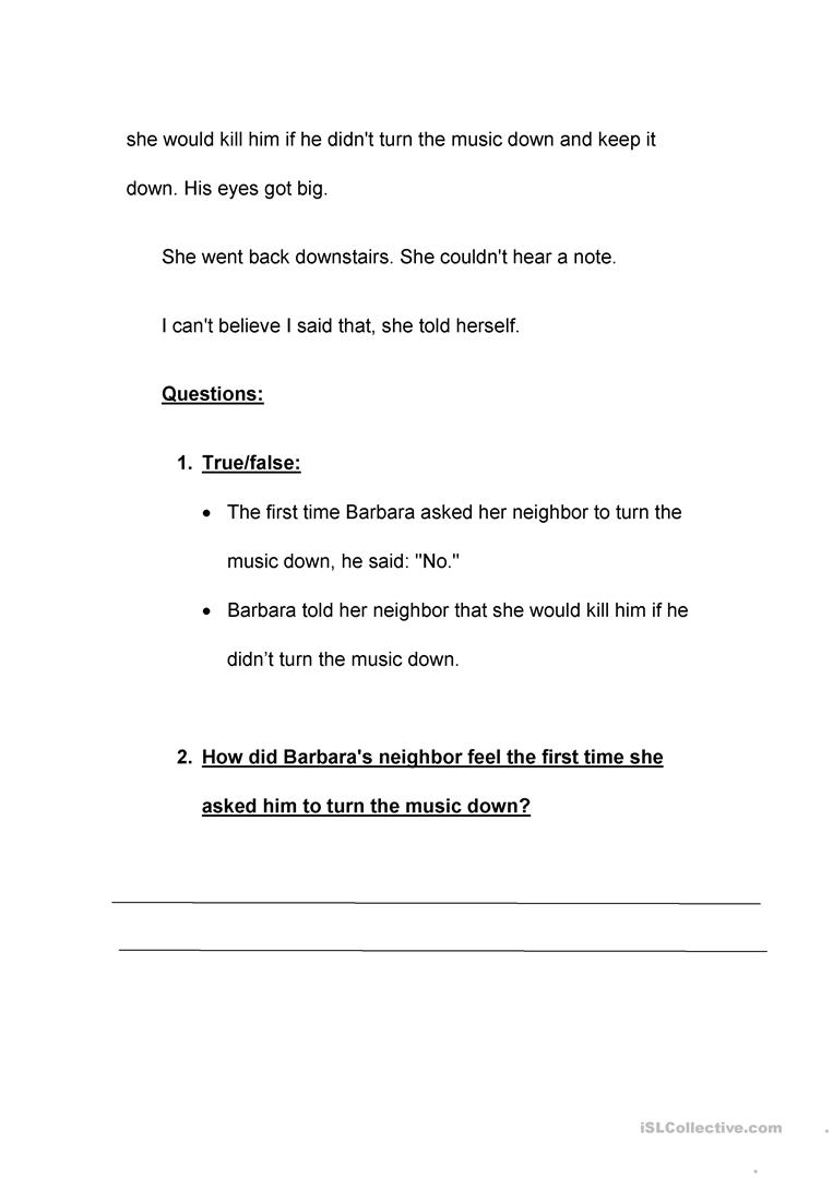The noisy neighbour comprehension worksheet free esl printable the noisy neighbour comprehension full screen altavistaventures Image collections