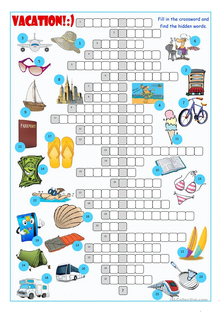 Vacation Crossword Puzzle Worksheet Free Esl Printable Worksheets
