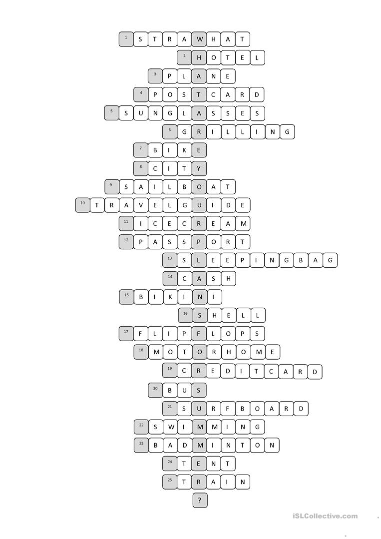 photograph about Printable Crossword Puzzles for Teens titled Holiday vacation Crossword Puzzle - English ESL Worksheets