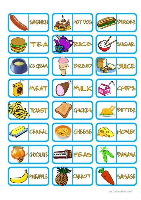 Food Domino worksheet - Free ESL printable worksheets made by teachers