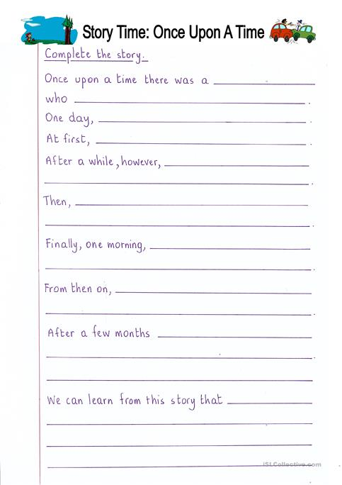 Read and Complete - Once Upon a Time (story writing) worksheet ...