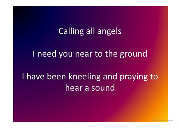 Calling all angels - Song