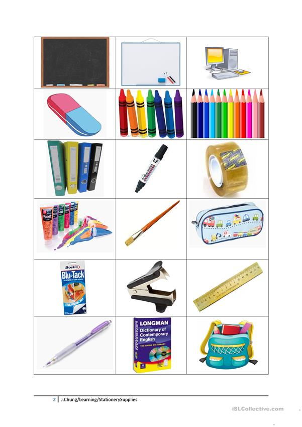 Classroom objects and stationery
