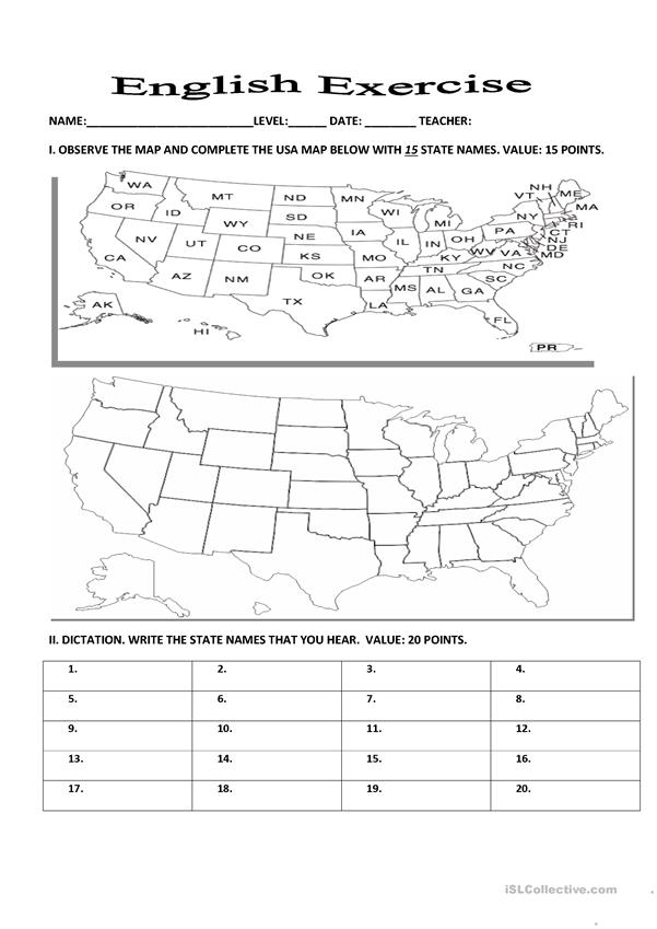 Exercise about U.S.A. states