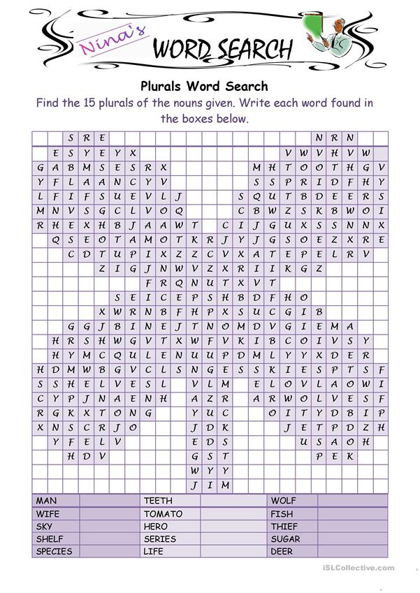Irregular Plurals 2 Wordsearch