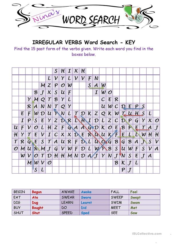 Irregular Verbs 4 Word Search