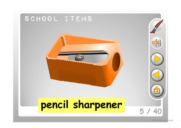 SCHOOL ITEMS PICTIONARY PPT