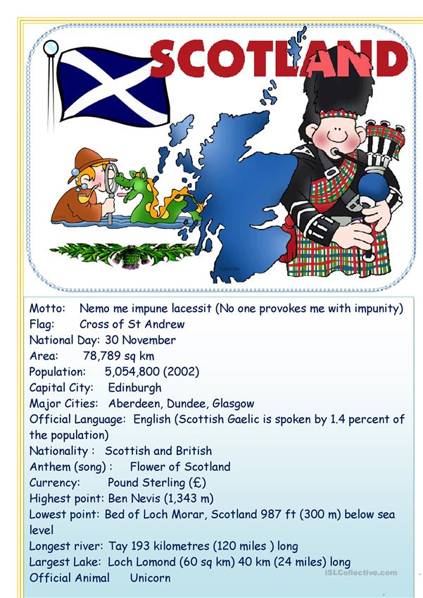 Tell about English-speaking countries:Scotland