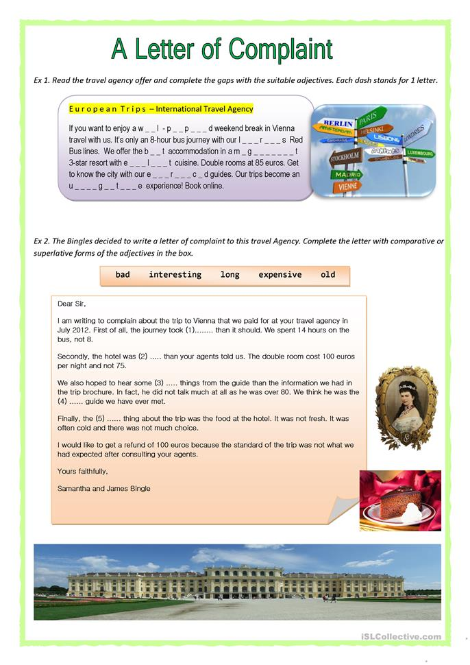 English In Italian: A Letter Of Complaint Worksheet