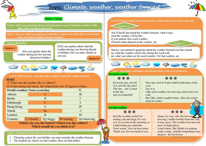 Worksheets Free Weather Forecast Esl Worksheets Printable Forecast